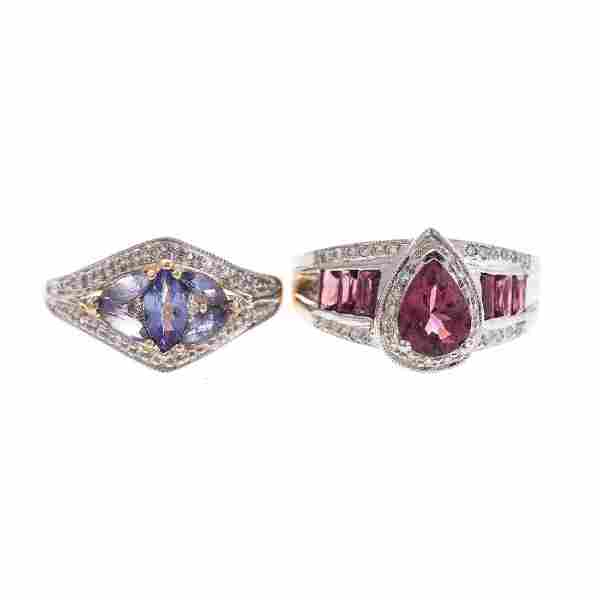 Two Lady's Gemstone and Diamond Rings in 14K