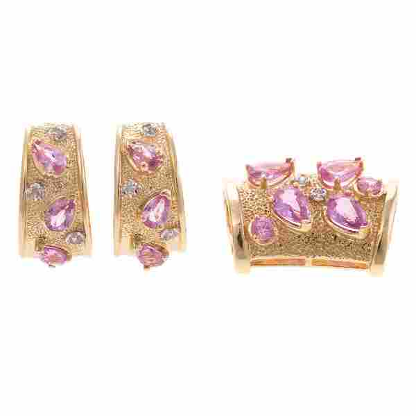 A Pink Sapphire & Diamond Pendant and Earrings