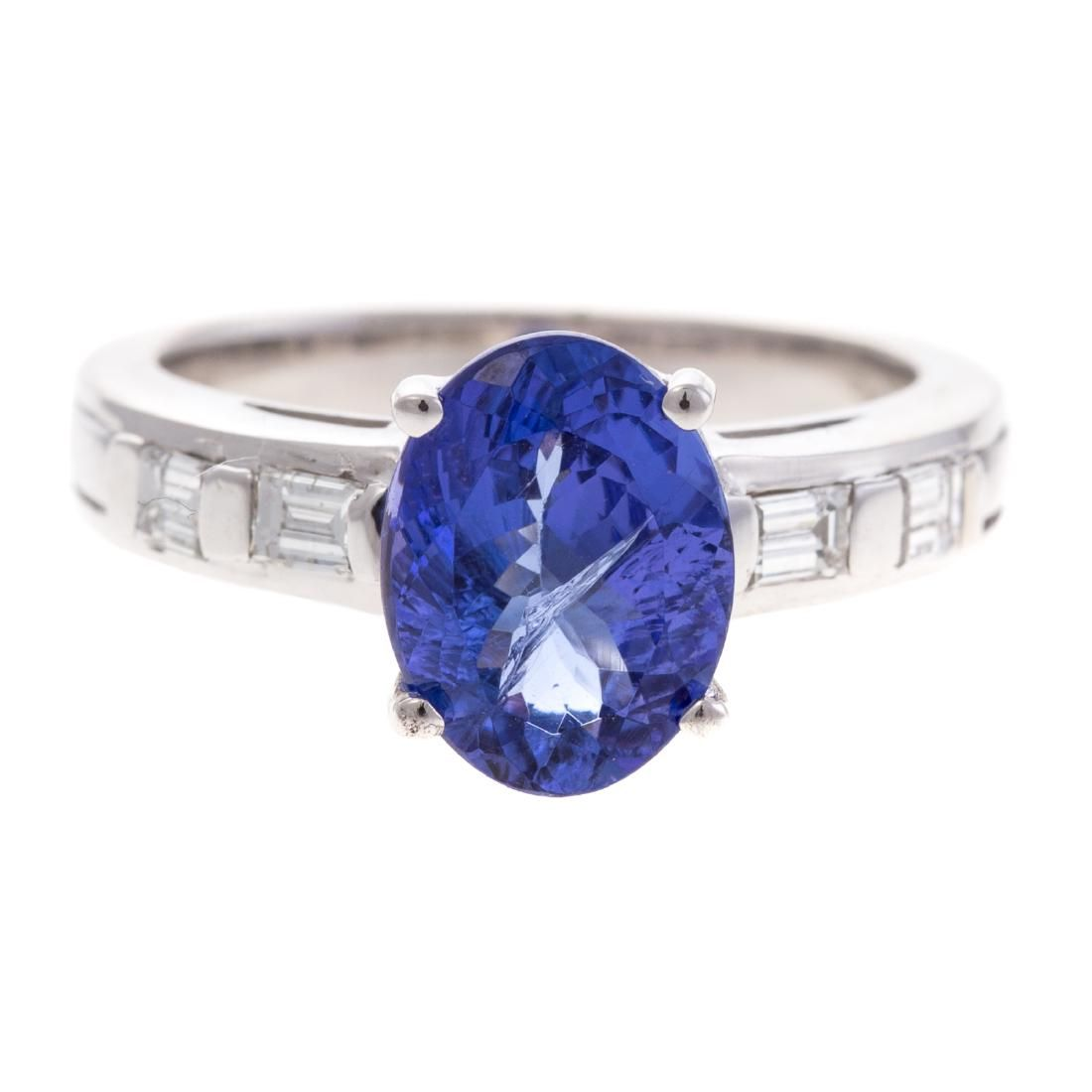 A Lady's Tanzanite & Diamond Ring in 14K Gold