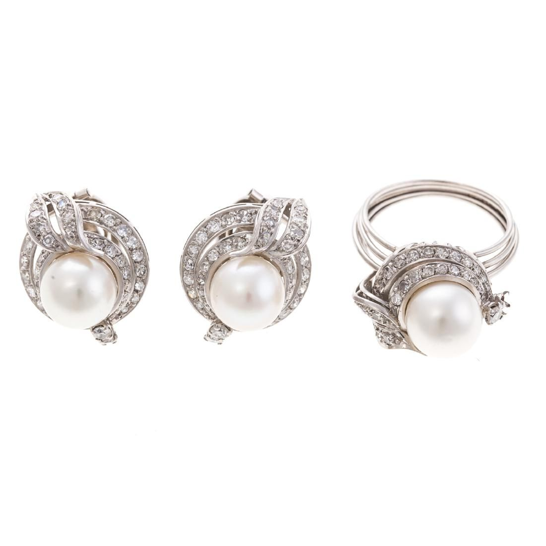 A Pearl & Diamond Earring and Ring Set in Platinum