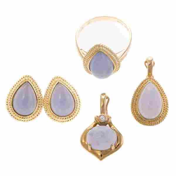 A Collection of Moonstone Jewelry in 14K Gold