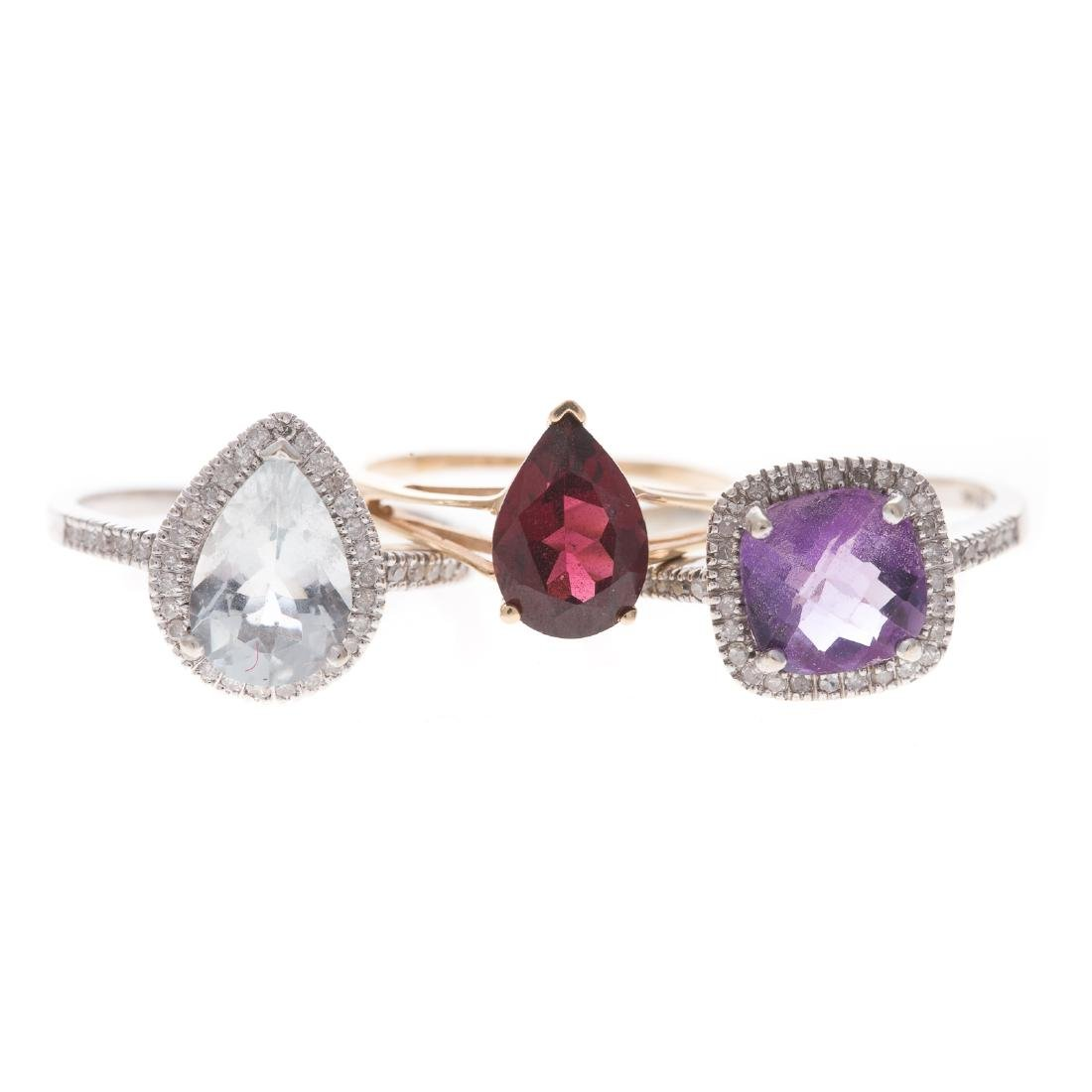 A Trio of Lady's Gemstone Rings in 10K Gold
