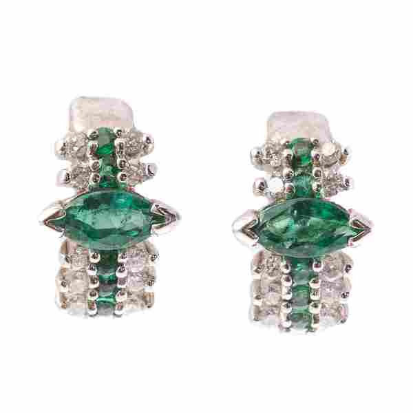 A Pair of Emerald & Diamond Earrings in 14K