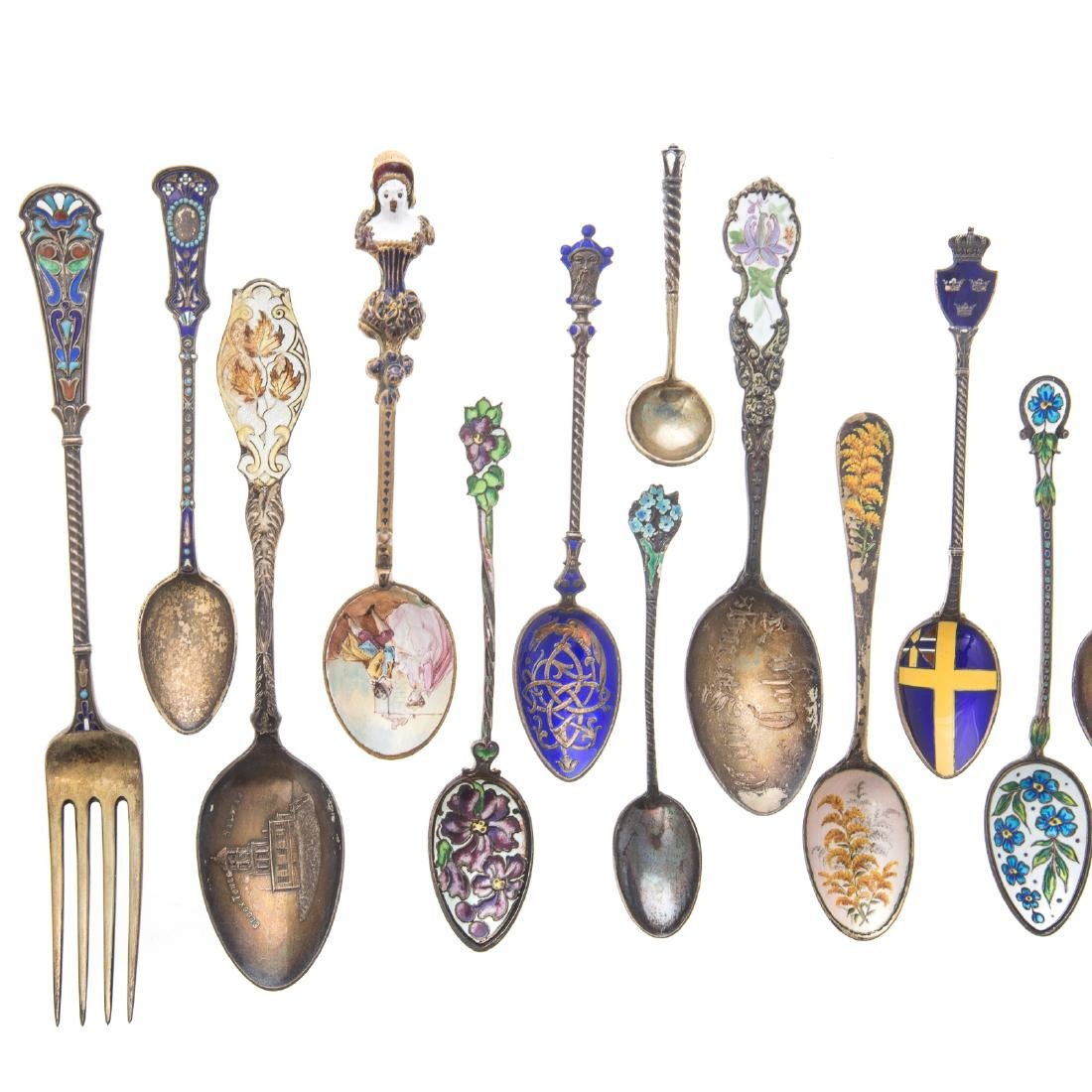 Cont. & American enameled silver spoons & a fork - 2