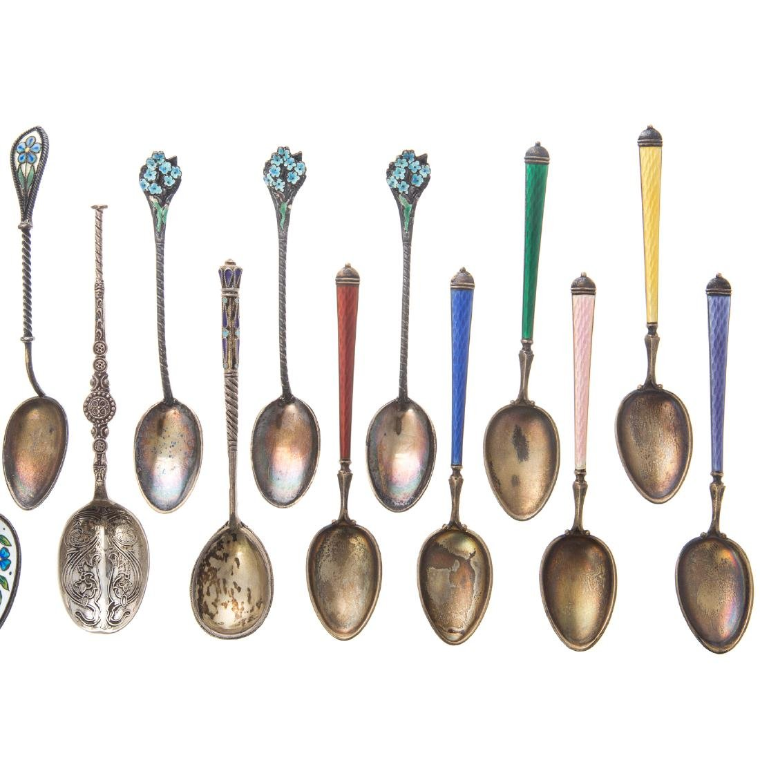 Cont. & American enameled silver spoons & a fork - 3