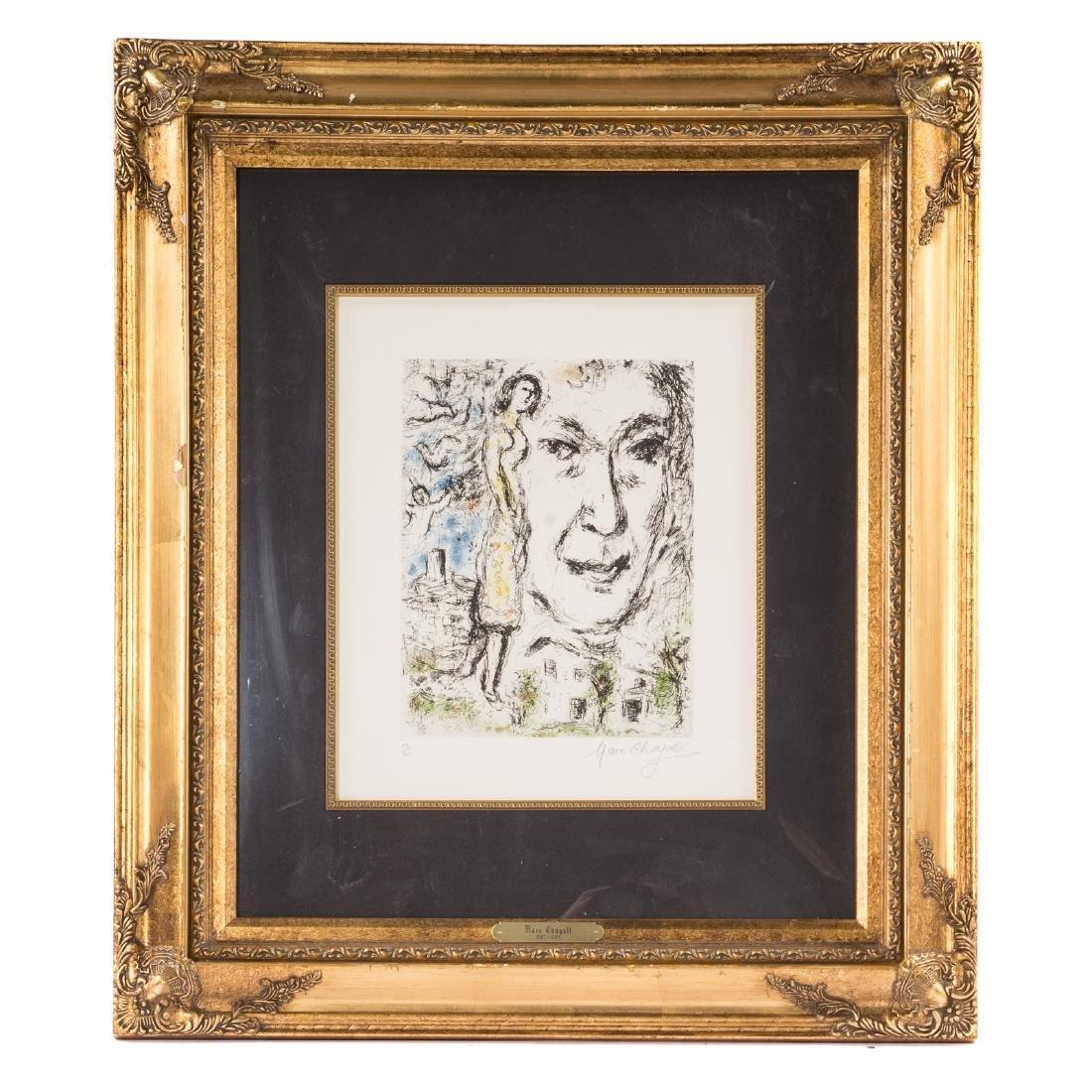 """Marc Chagall. """"Autoportrait,"""" color etching"""