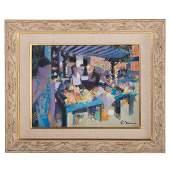 Paul Neven. French Market Scene, oil on canvas