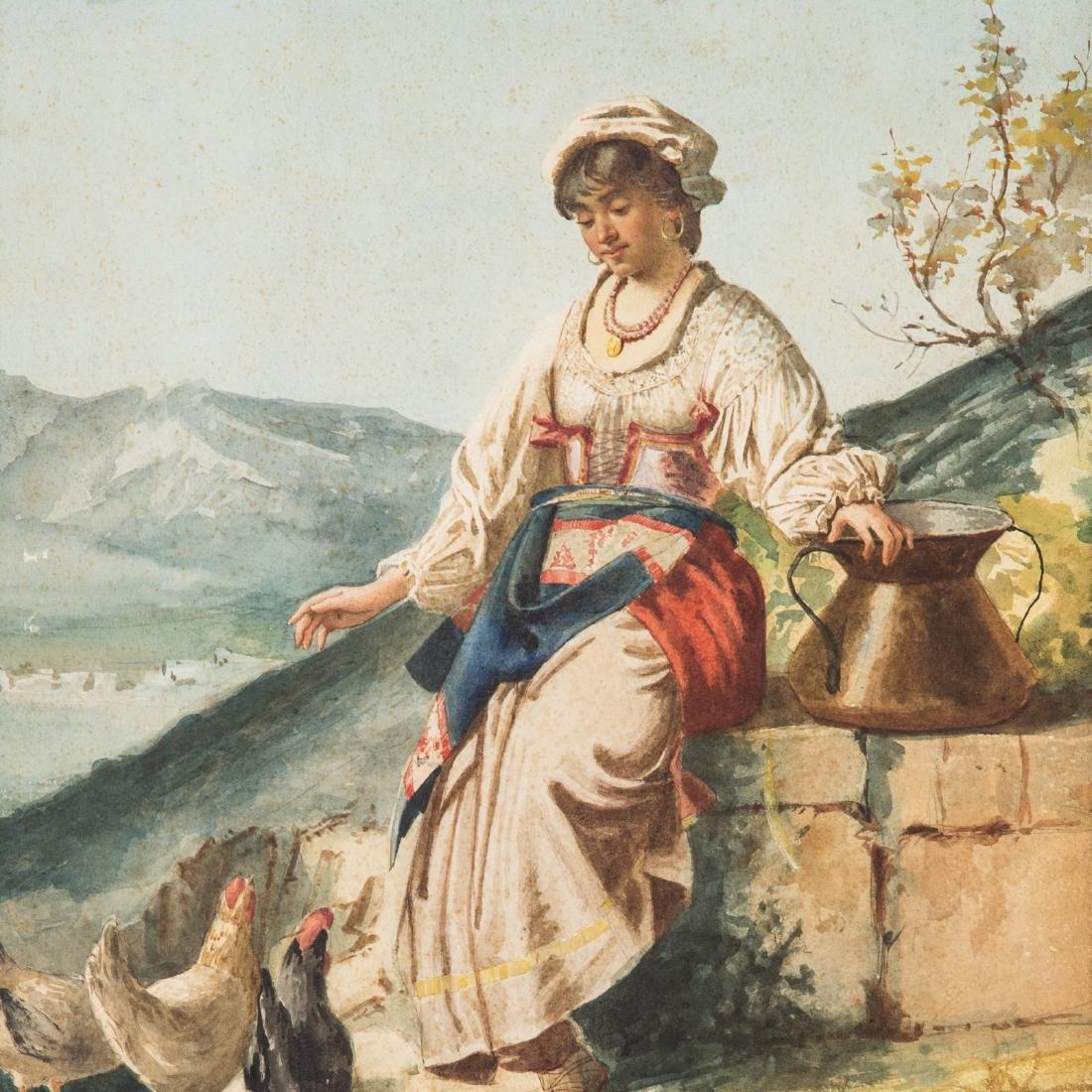 C. Gioca. Contadina with Chickens, watercolor - 2