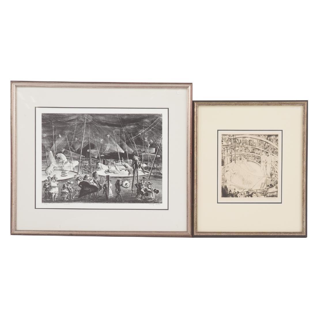 Three Circus themed prints, each framed