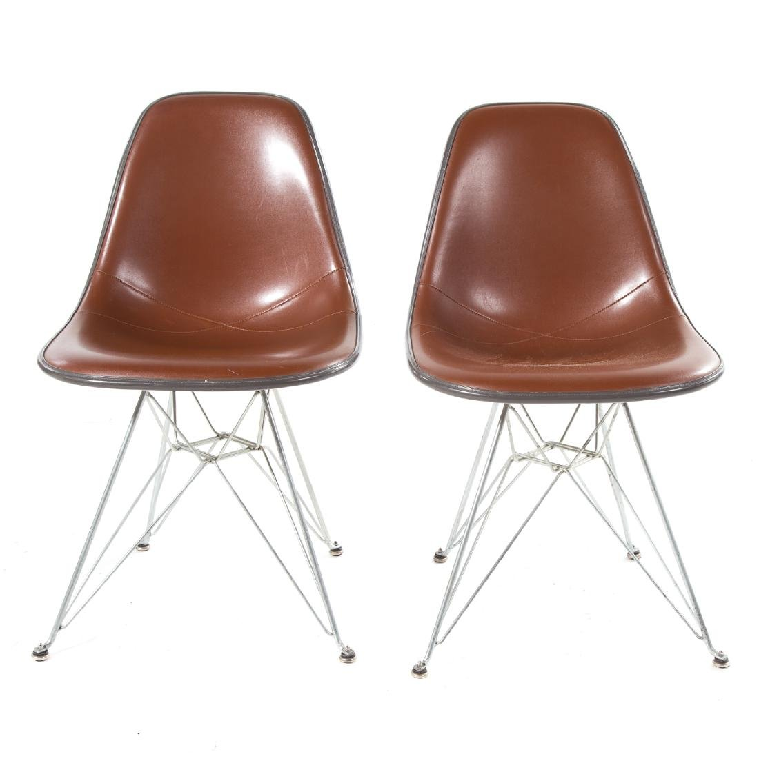 Pair Eames Herman Miller style Eiffel base chairs