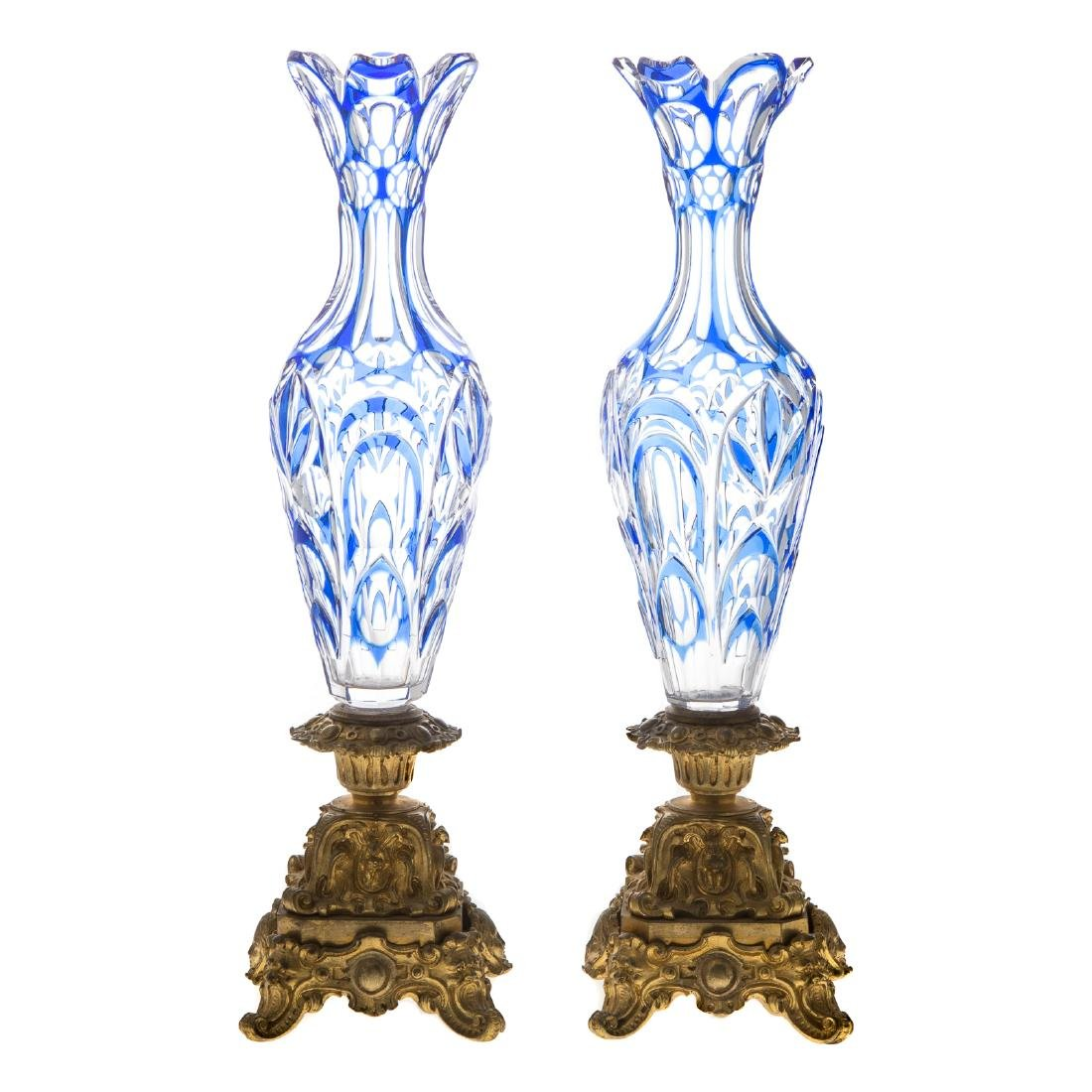 Pair Bohemian style glass and gilt-bronze vases