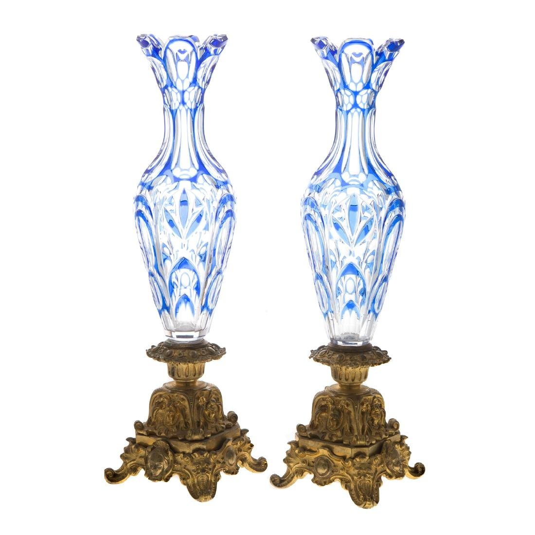 Pair Bohemian style glass and gilt-bronze vases - 2