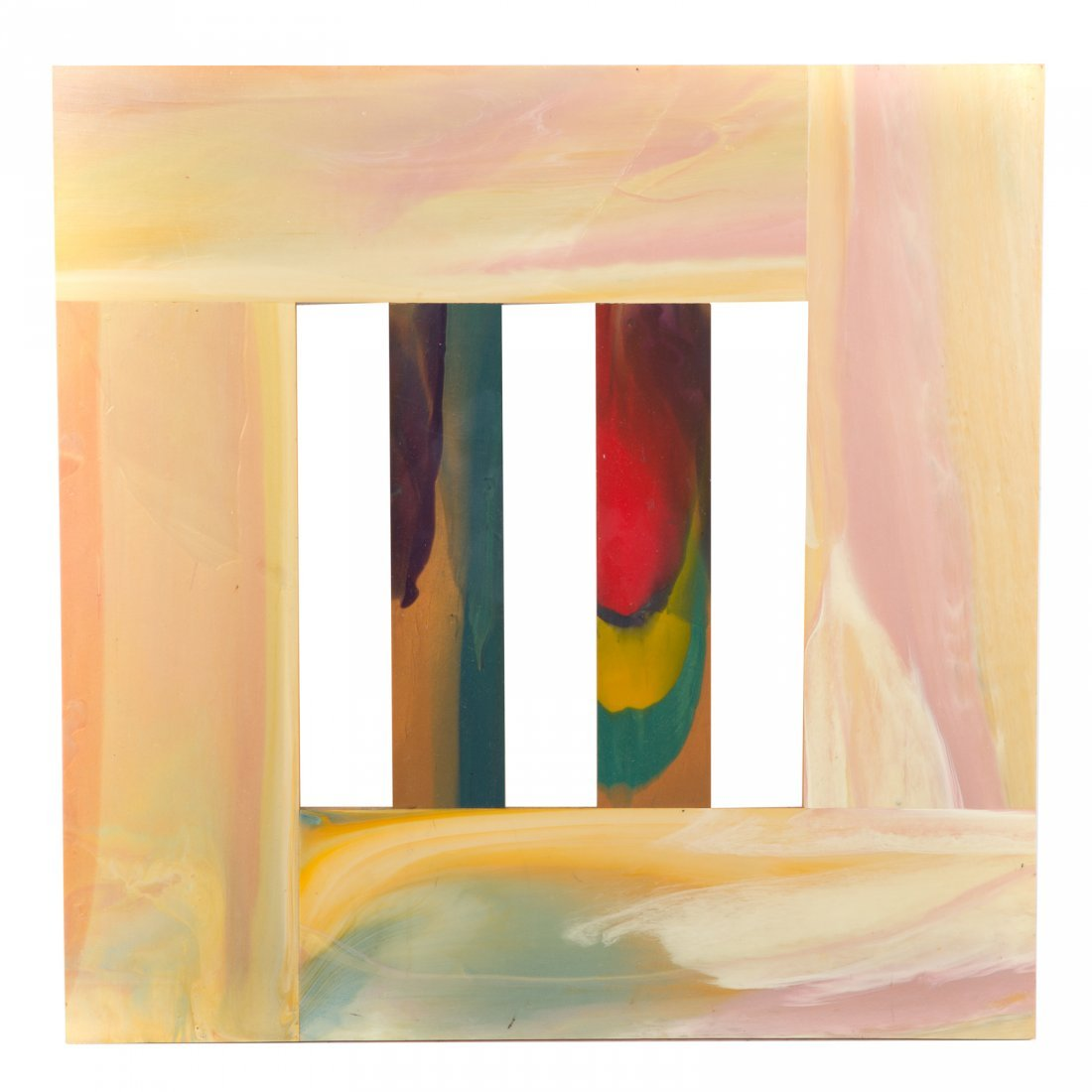 "Sam Gilliam. ""Two Stakes #5,"" acrylic on birch"