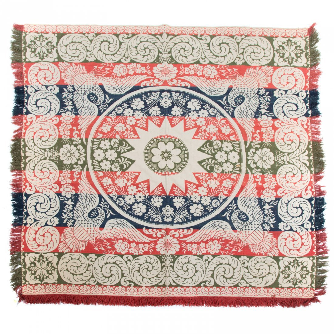 American loom woven jacquard coverlet