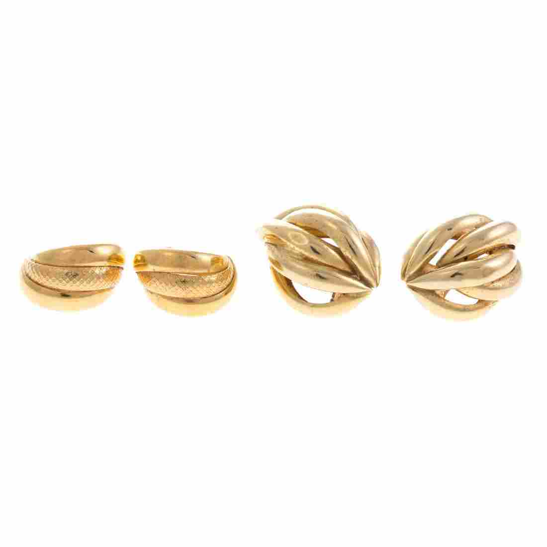 Two Pair of Lady's Earrings in 14K Gold