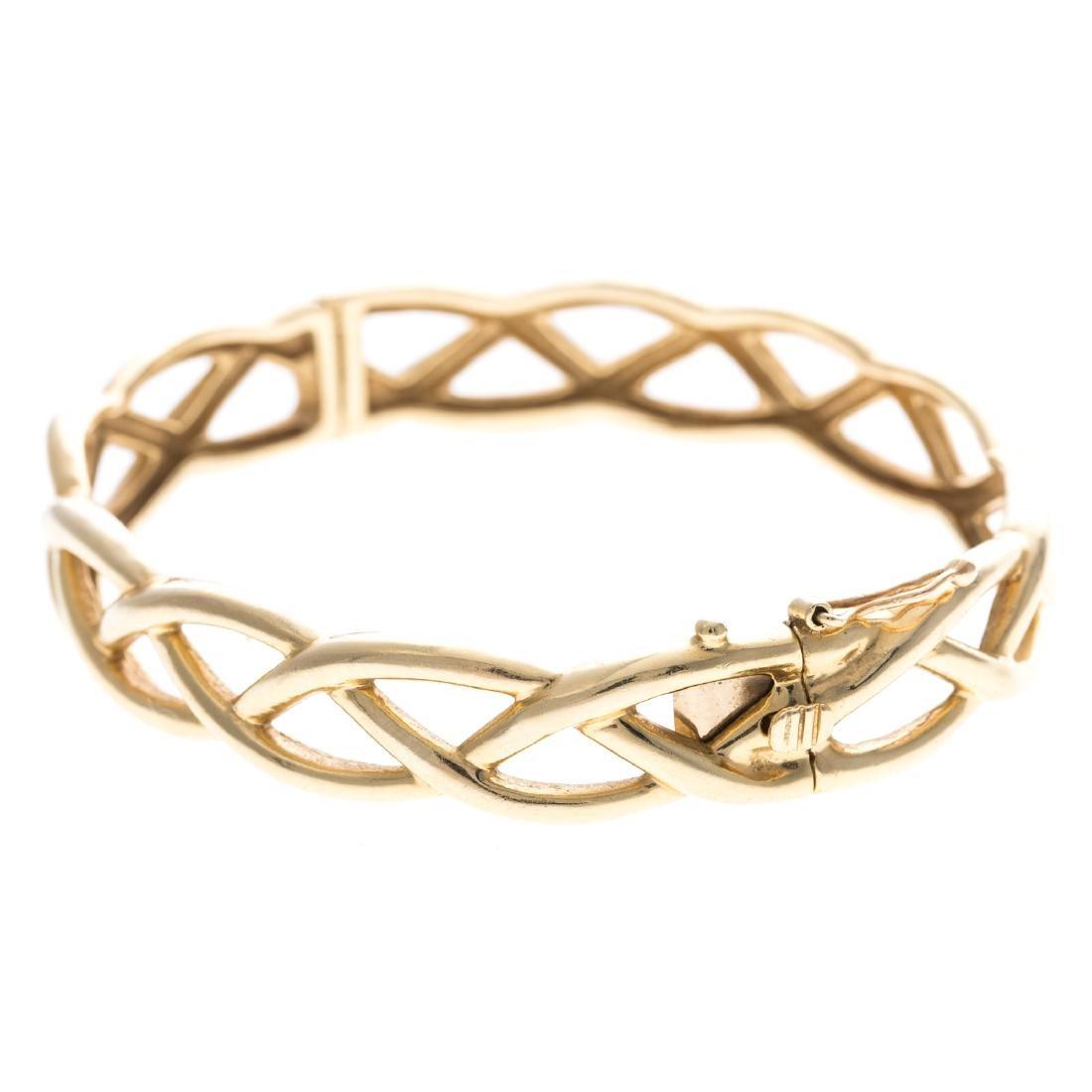 A Lady's 14K Open Weave Bangle Bracelet - 2