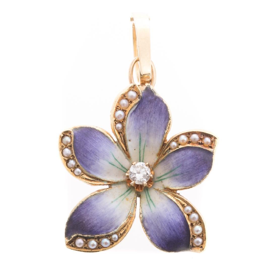 An Enamel Flower Pendant with Diamond & Seed Pearl