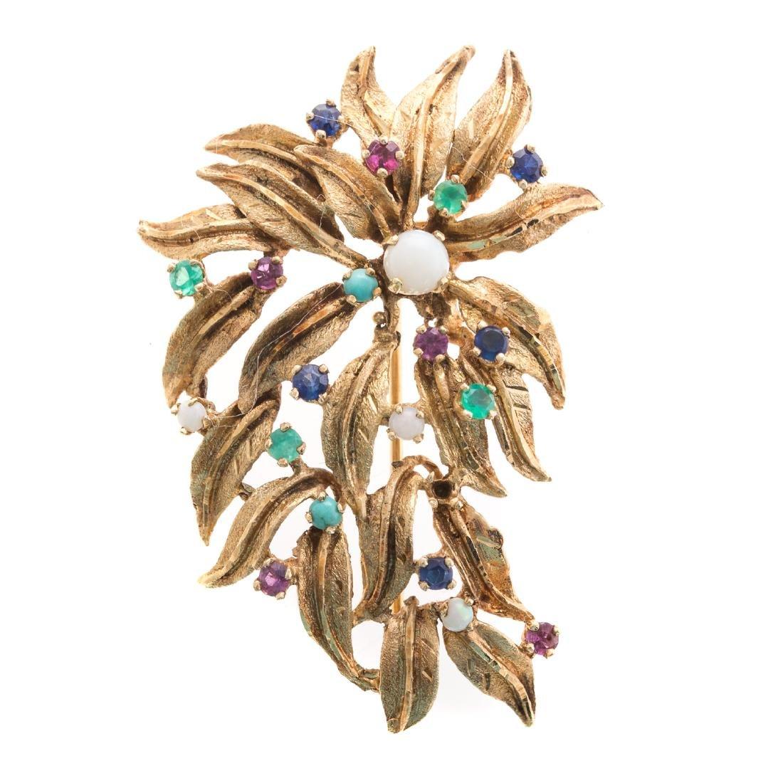 A Lady's Gemstone Brooch in 14K Gold
