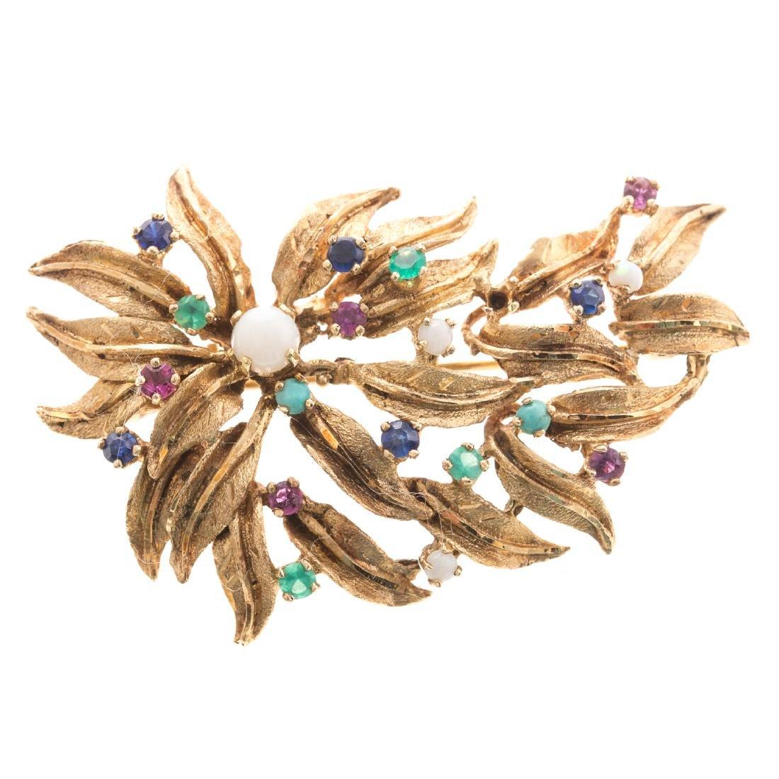 A Lady's Gemstone Brooch in 14K Gold - 2