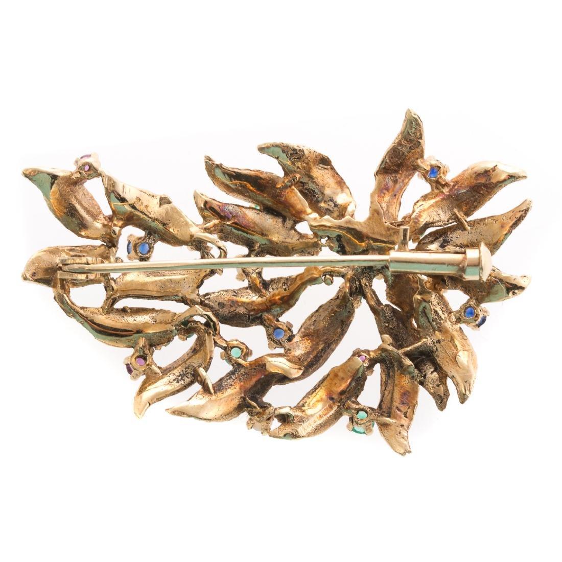 A Lady's Gemstone Brooch in 14K Gold - 3