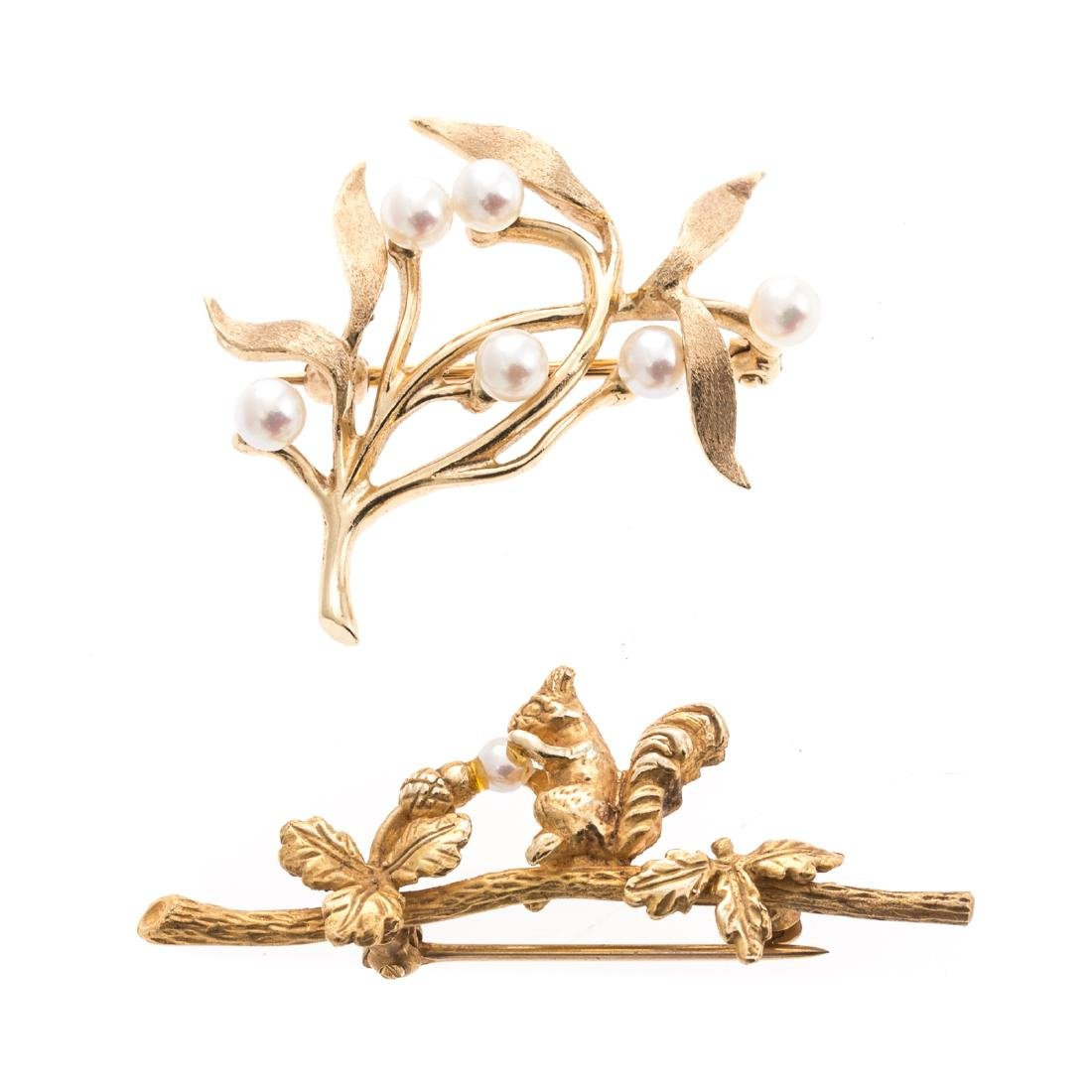 Two Lady's Pins with Pearls in 14K Gold