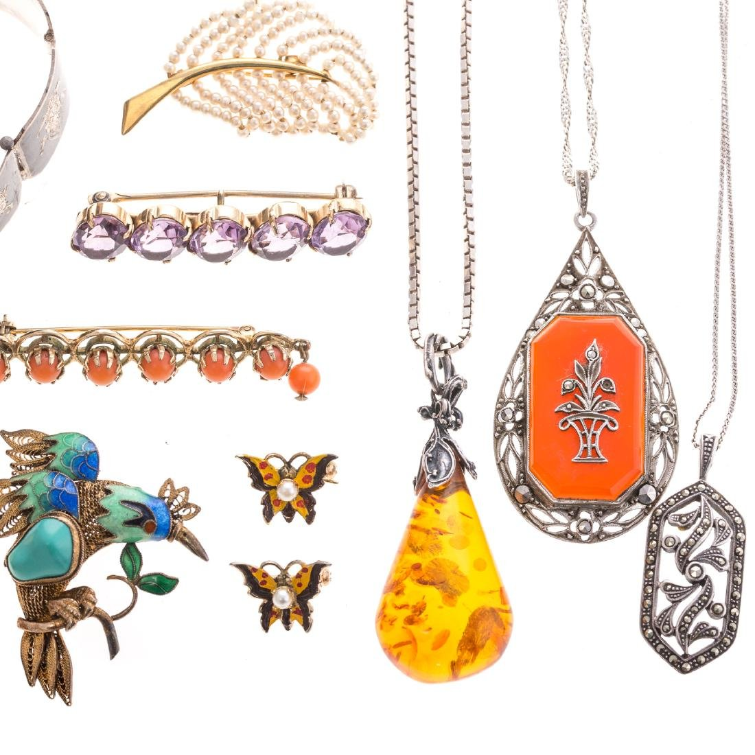 A Collection of Lady's Jewelry Featuring Amber - 2