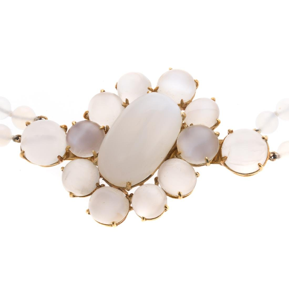 A Convertible 18K Moonstone Pin/Necklace - 2