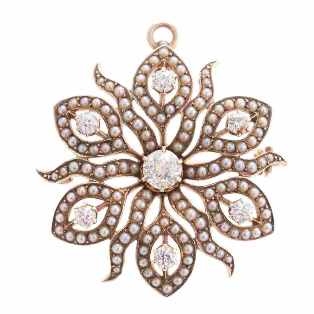 A Lady's Victorian Diamond Pendant/Brooch in 14K