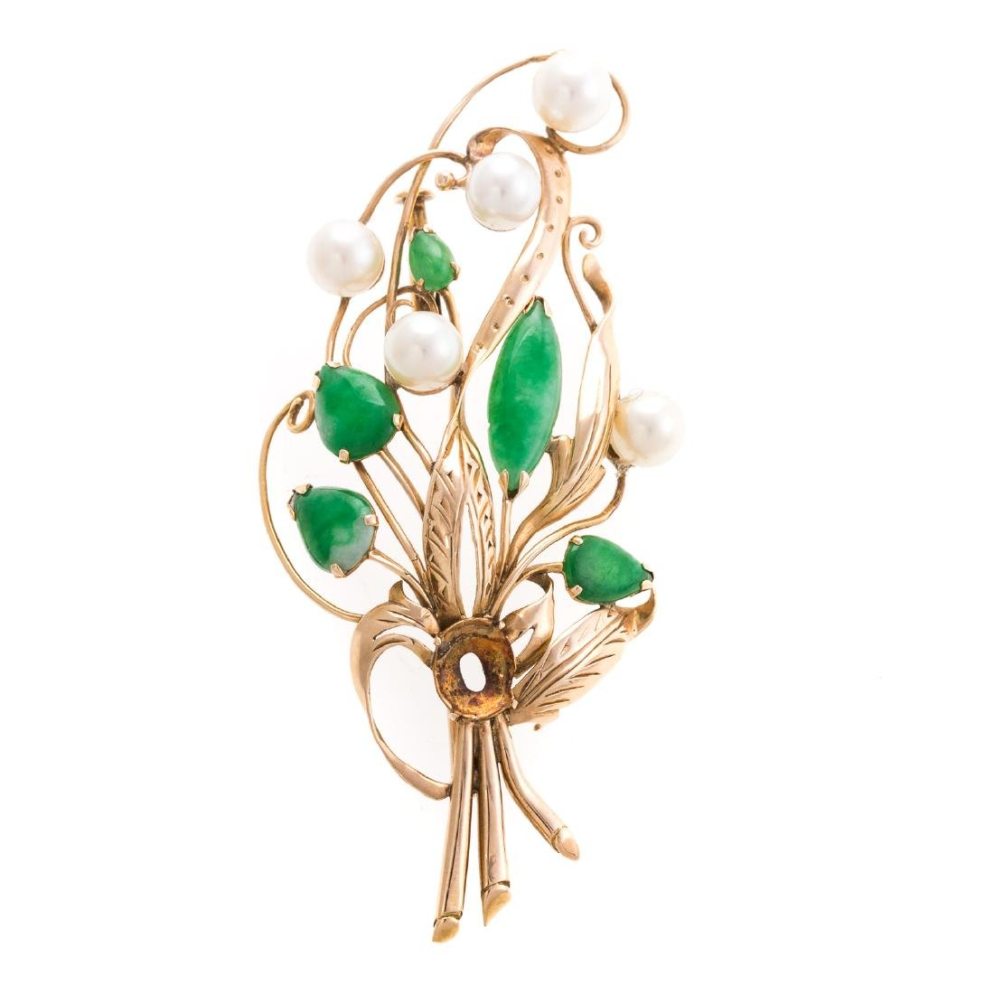 A Lady's 14K Jade and Pearl Floral Pin