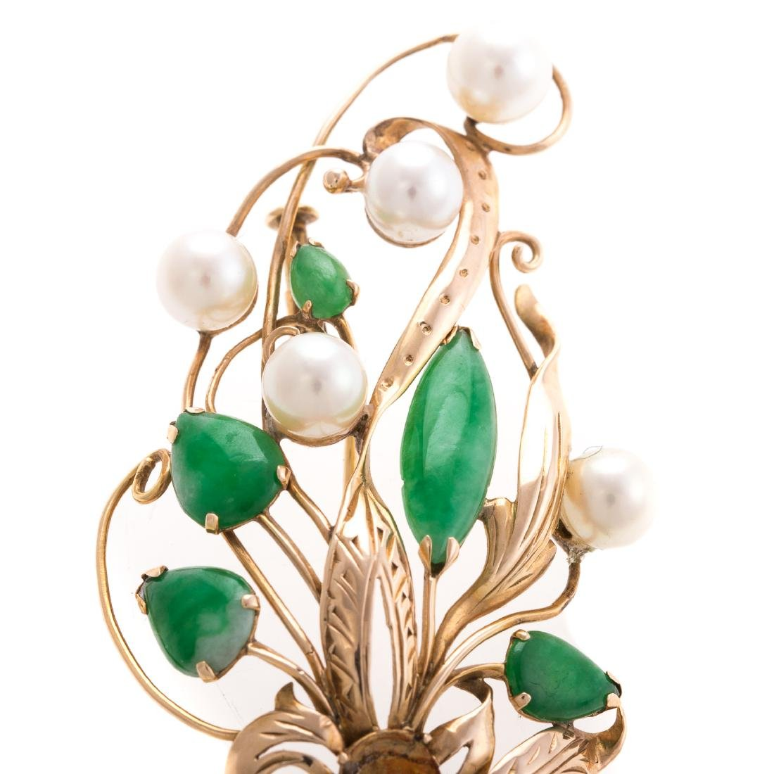 A Lady's 14K Jade and Pearl Floral Pin - 2
