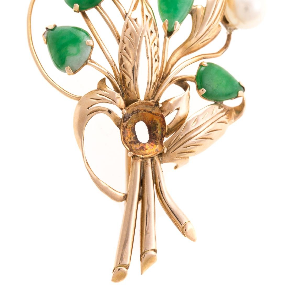 A Lady's 14K Jade and Pearl Floral Pin - 3