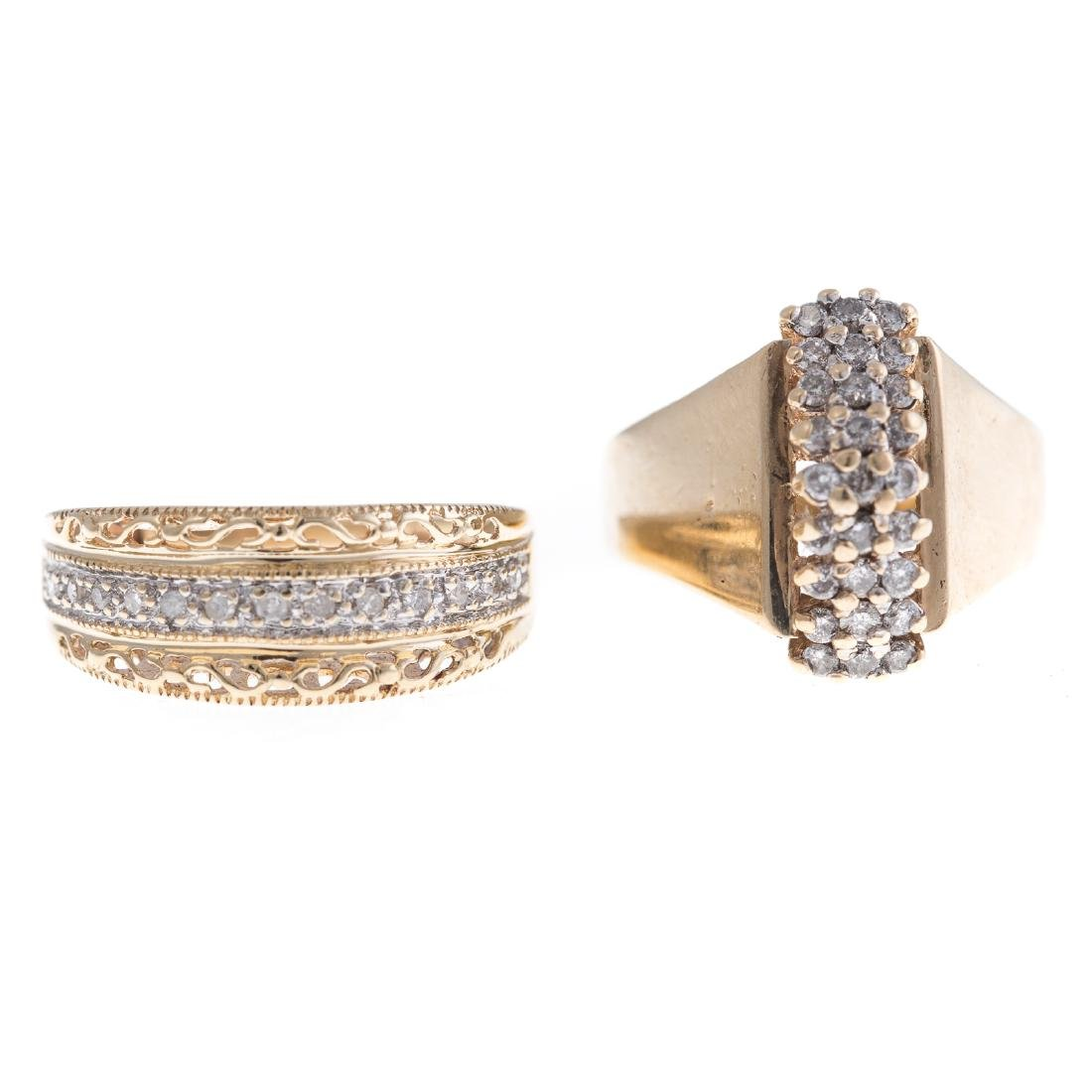 Two Lady's Diamond Rings in 10K Gold