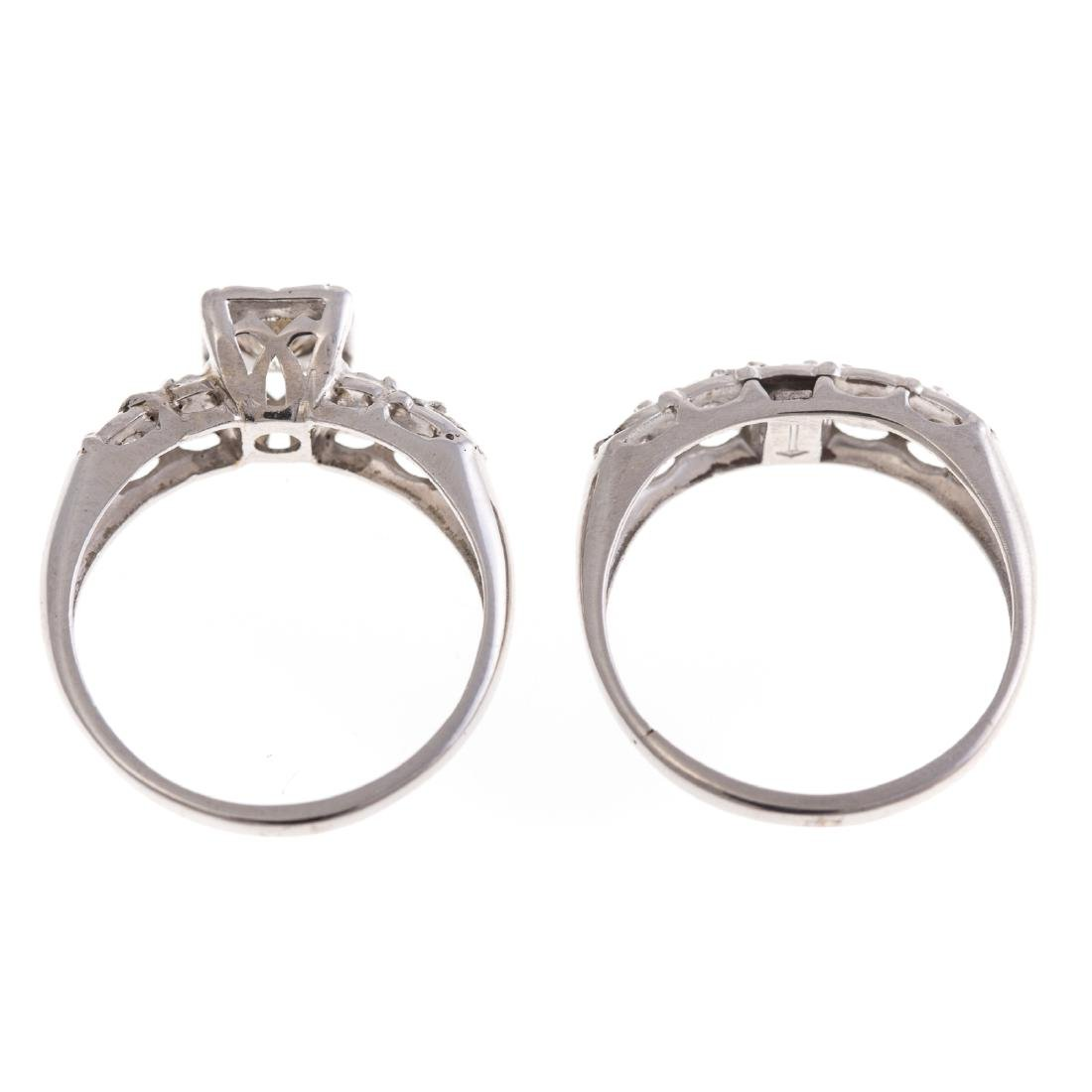 A Lady's Diamond Engagement Set in 14K White Gold - 4