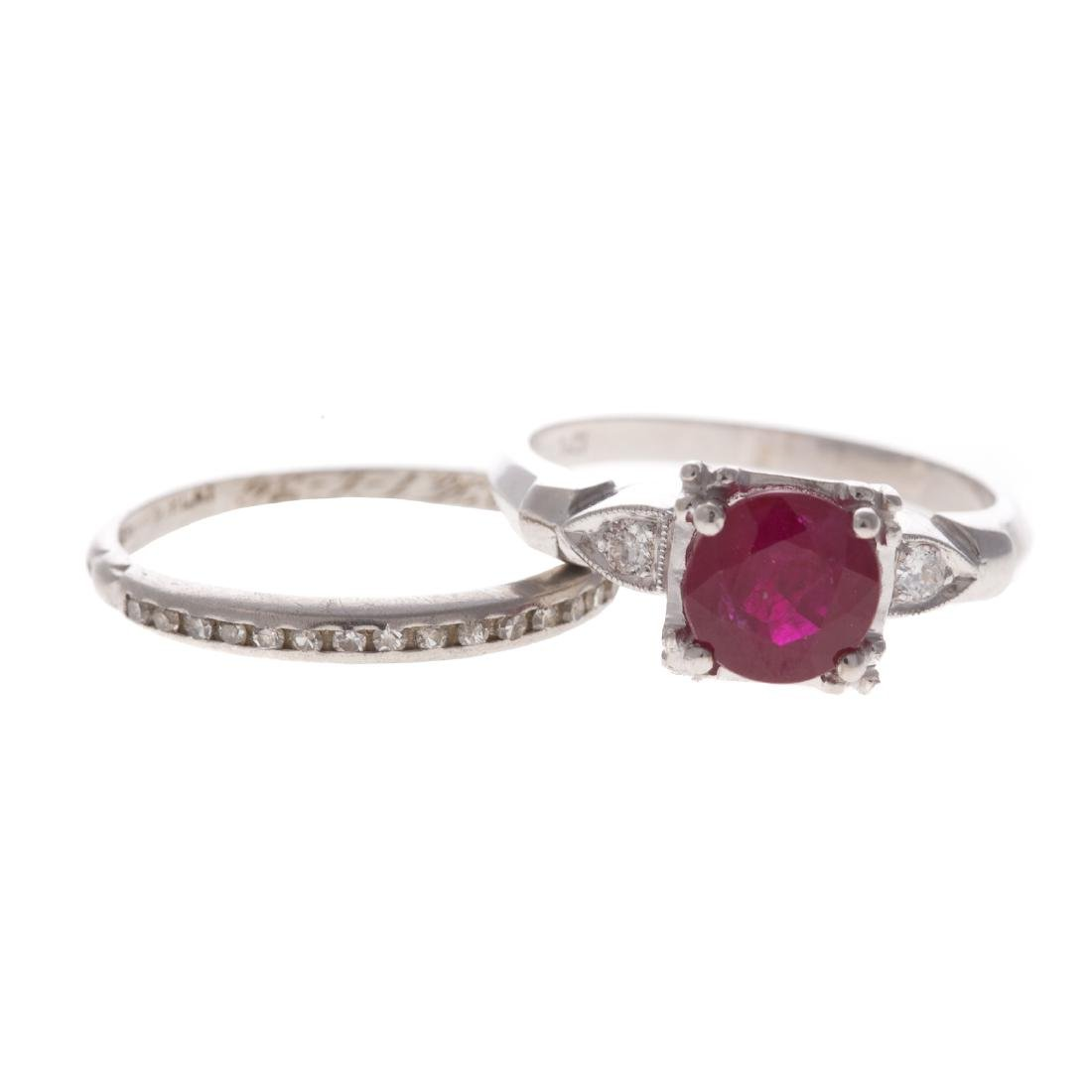 A Lady's Ruby & Diamond Ring with Plat Band