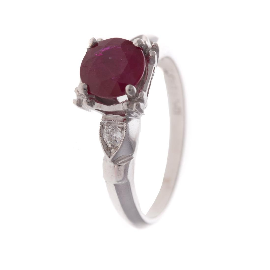 A Lady's Ruby & Diamond Ring with Plat Band - 2