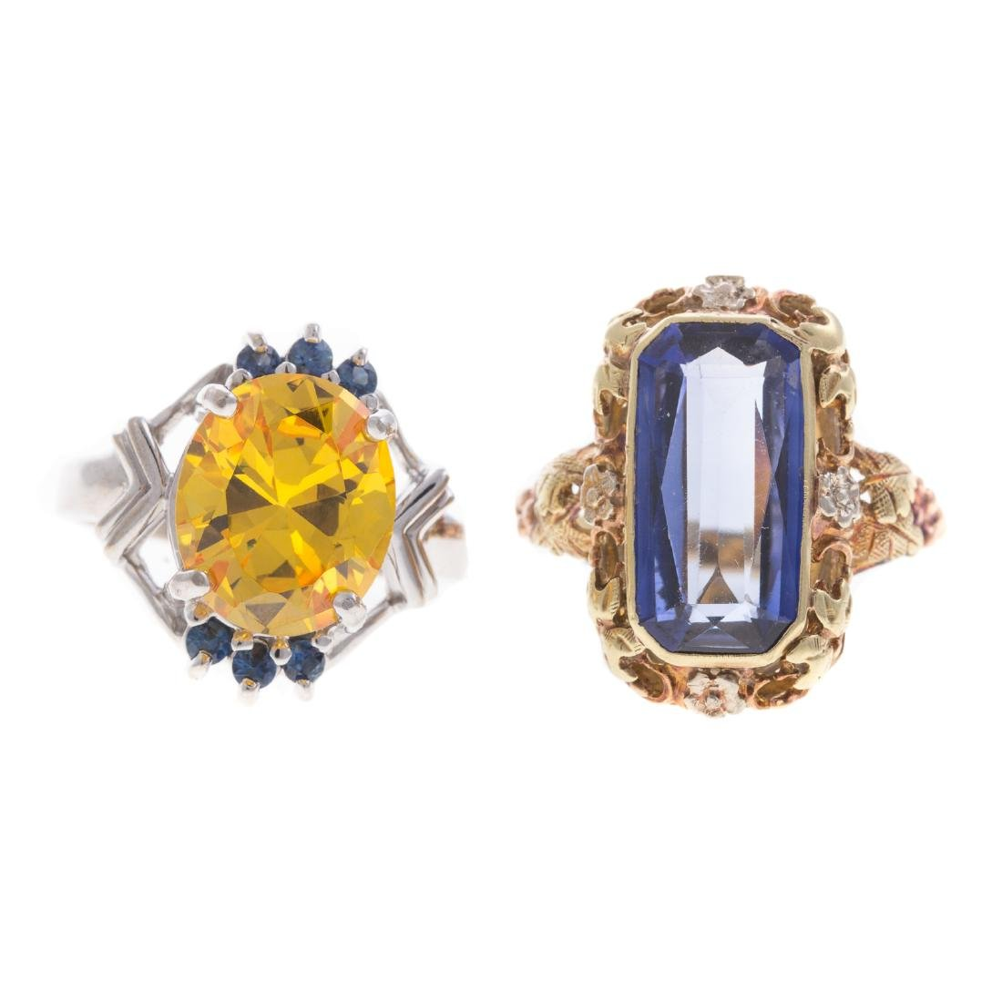 A Pair of Lady's Colored Gemstone Rings in Gold
