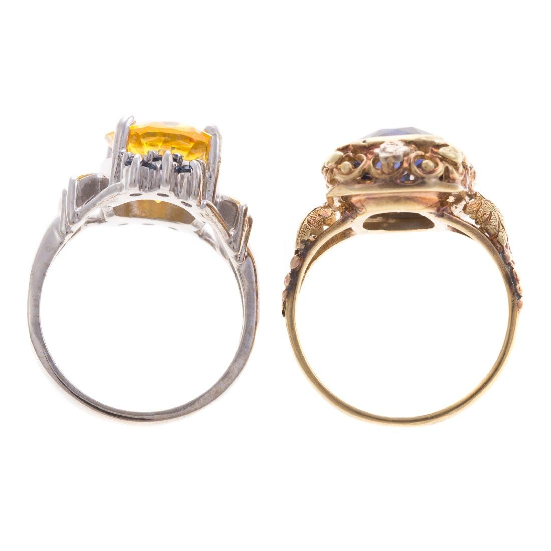 A Pair of Lady's Colored Gemstone Rings in Gold - 3