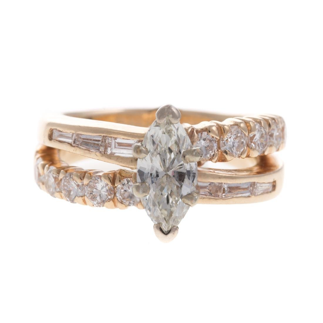 A Lady's Marquise Diamond Engagement Ring in 14K