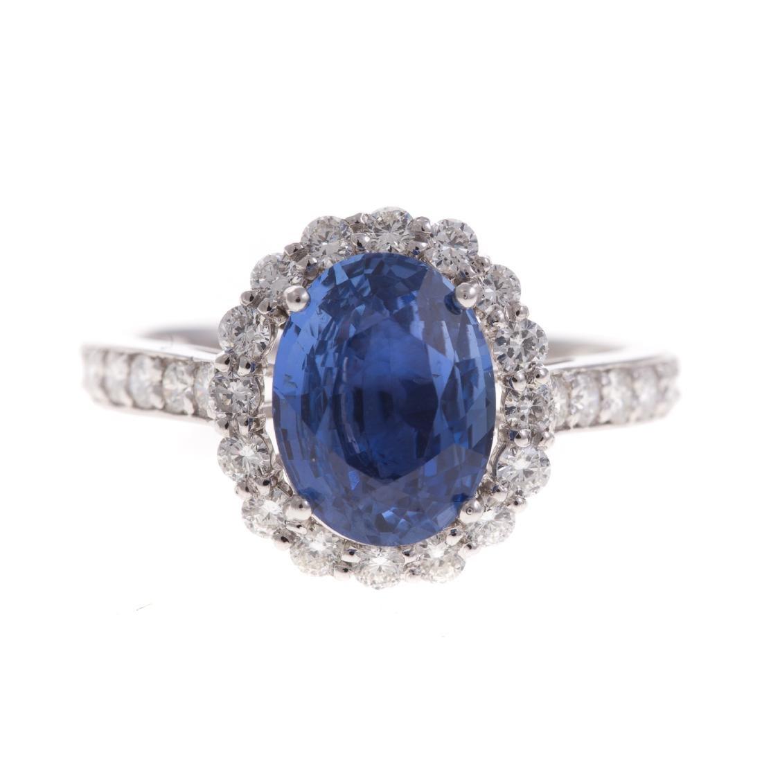 A Lady's 3.21 ct Unheated Sapphire & Diamond Ring