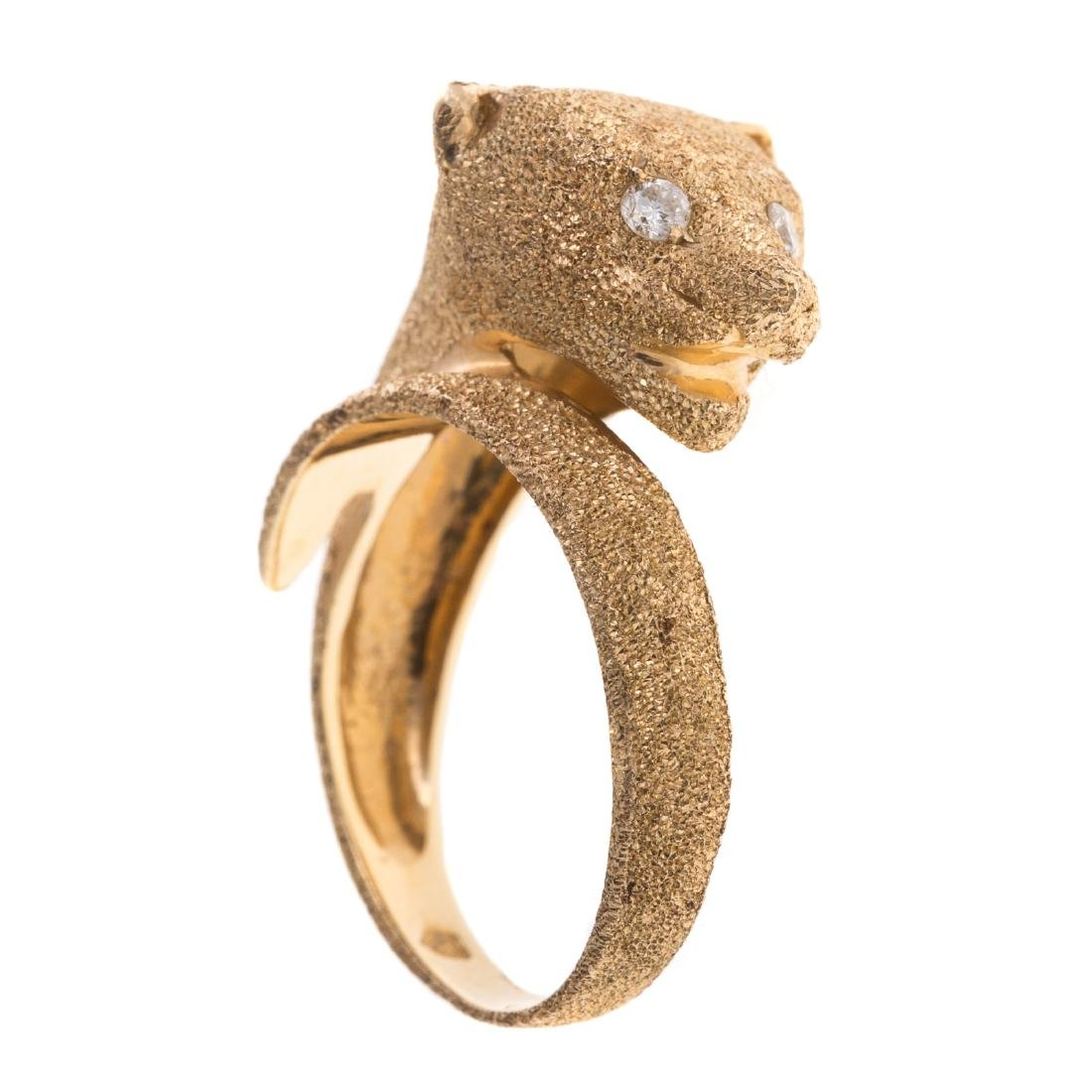 A Lady's 14K Panther Ring with Diamond Eyes