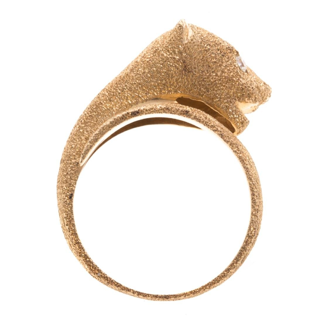 A Lady's 14K Panther Ring with Diamond Eyes - 2