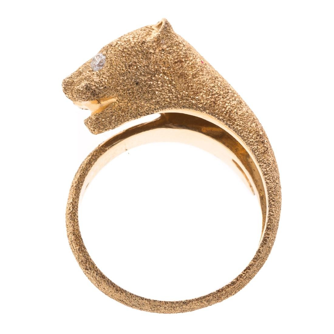 A Lady's 14K Panther Ring with Diamond Eyes - 3