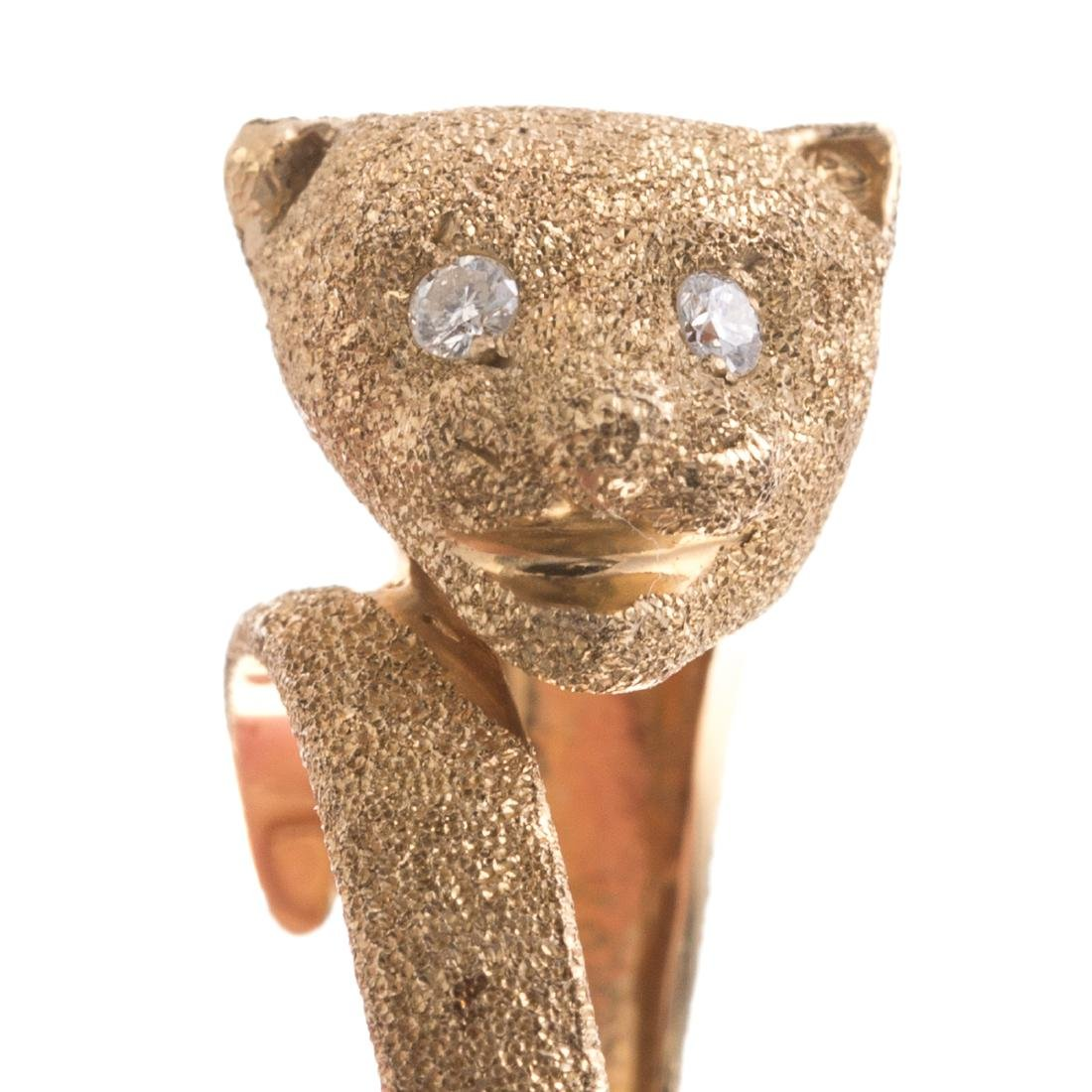 A Lady's 14K Panther Ring with Diamond Eyes - 6