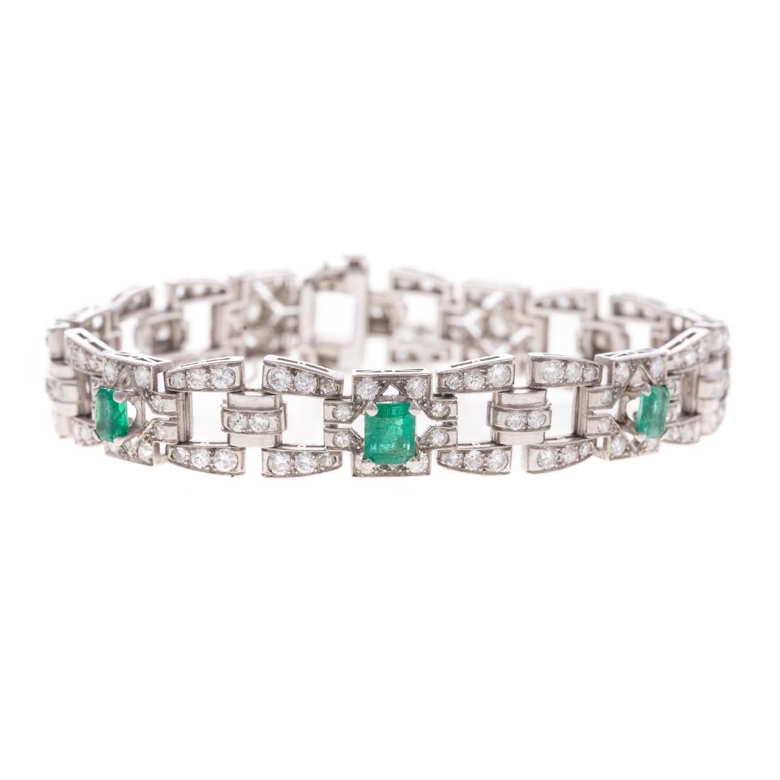 A Fine Art Deco Diamond & Emerald Bracelet