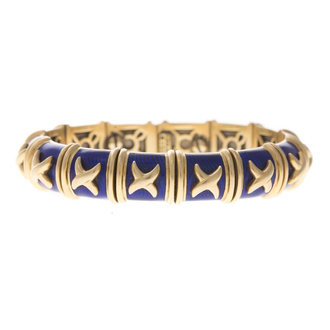 """An 18K Blue Enamel """"X"""" Bracelet by Hidalgo"""