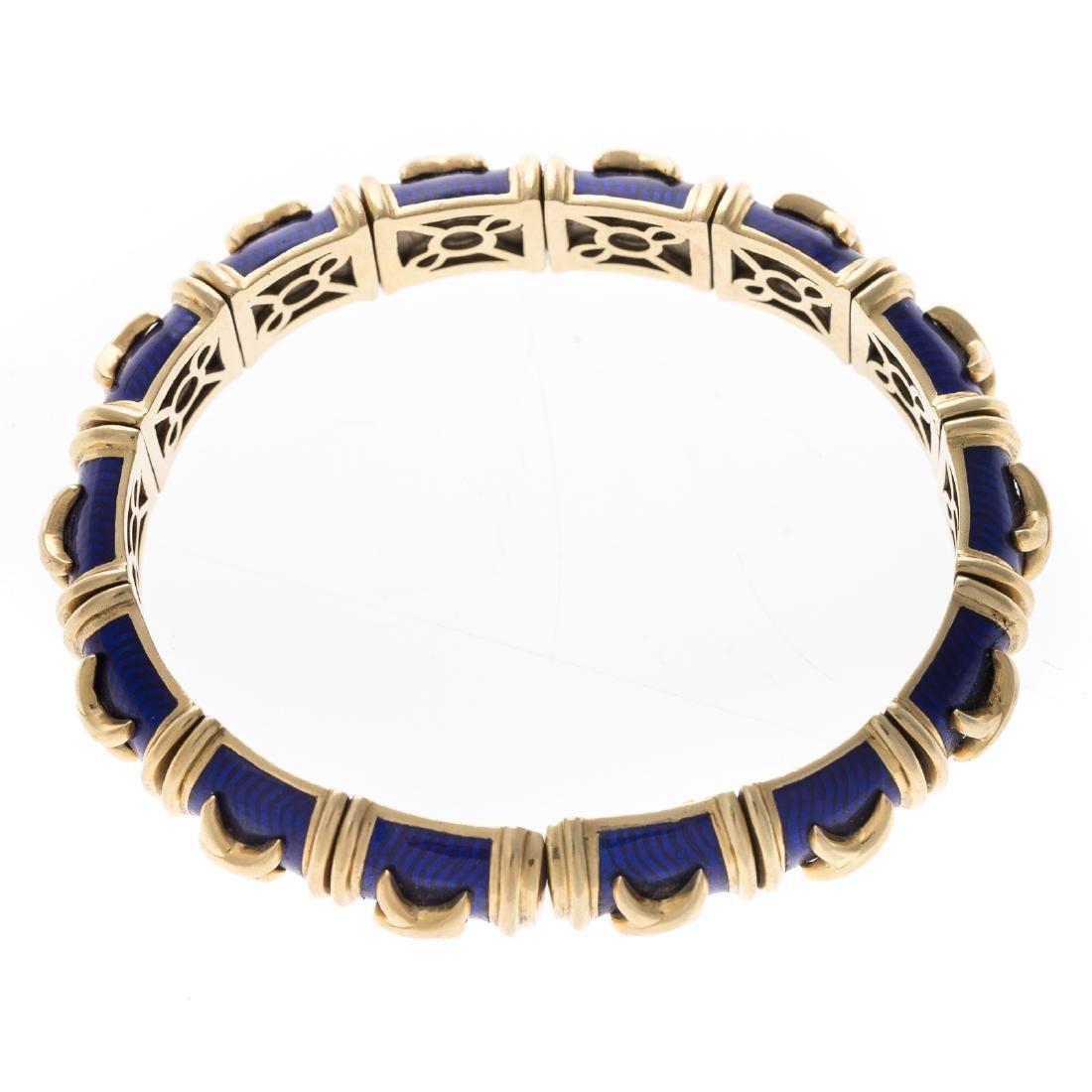 """An 18K Blue Enamel """"X"""" Bracelet by Hidalgo - 2"""