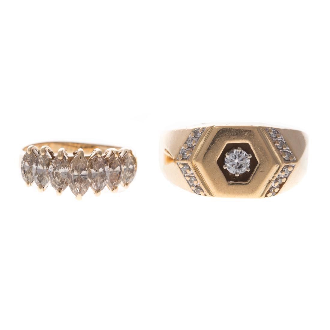 A Pair of Gold Diamond Rings