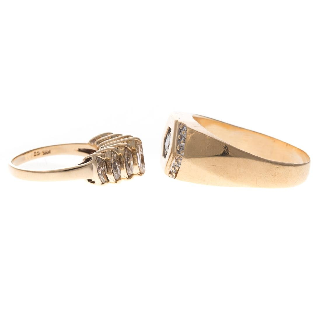 A Pair of Gold Diamond Rings - 2