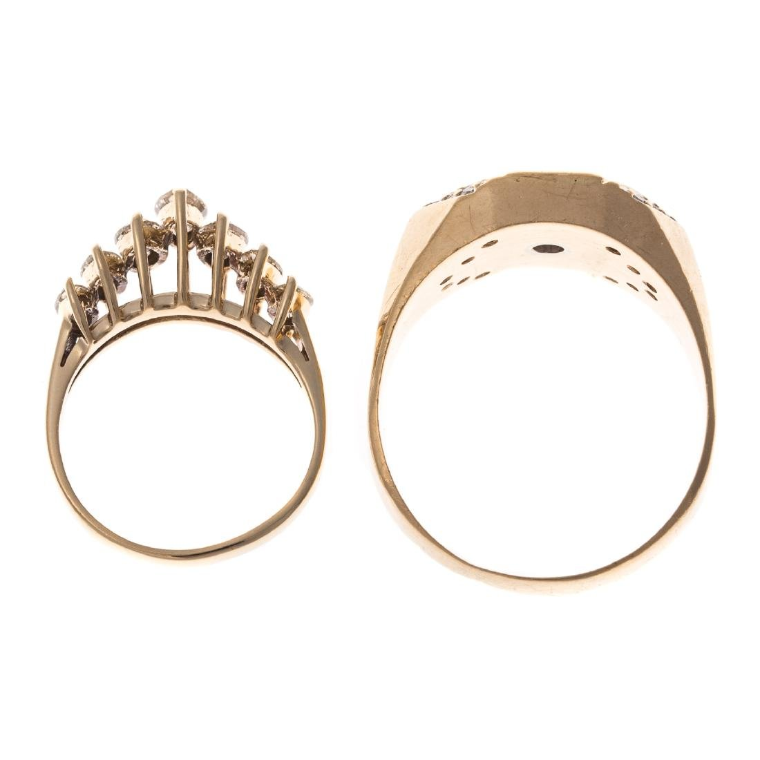 A Pair of Gold Diamond Rings - 3
