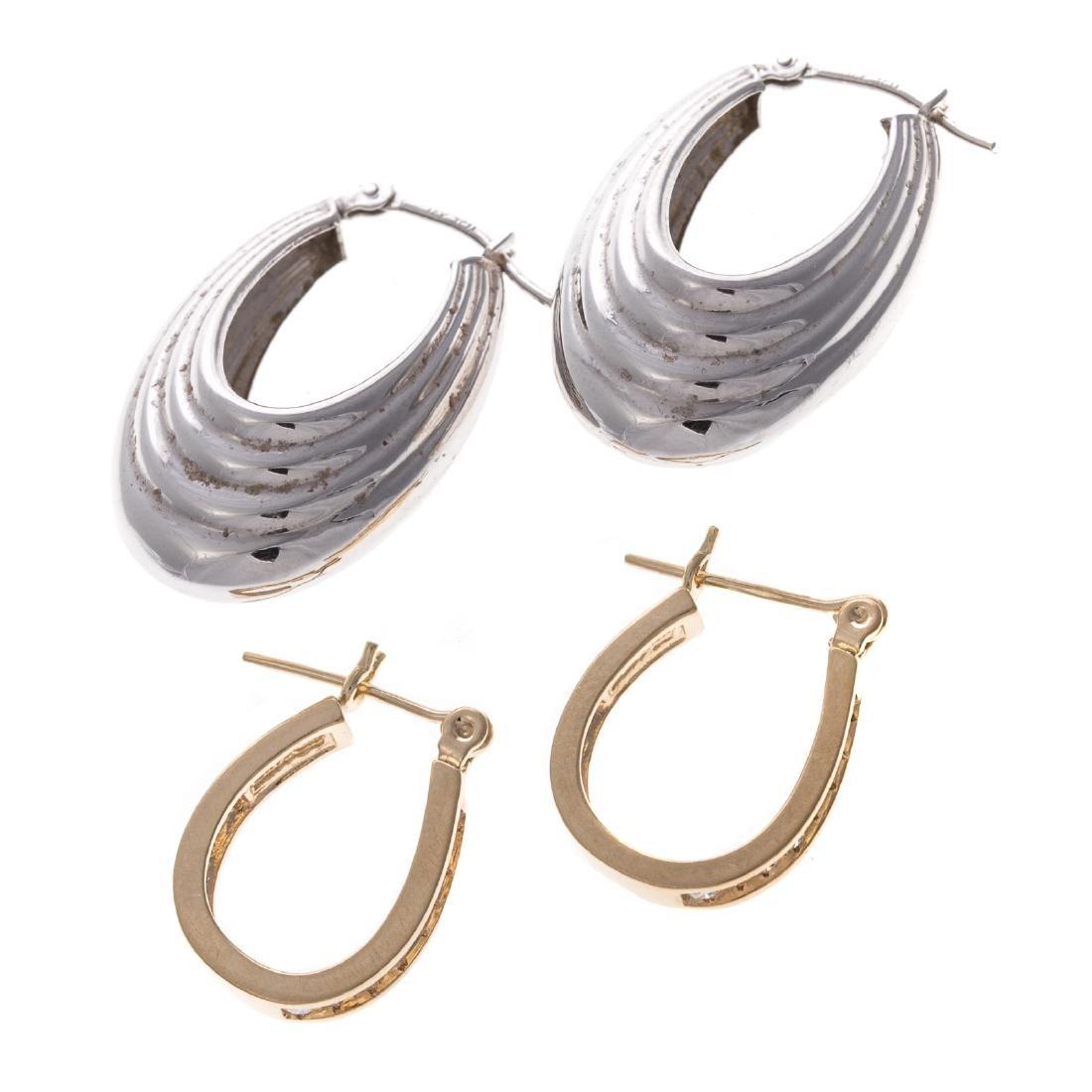 Two Pairs of Lady's 14K Hoop Earrings